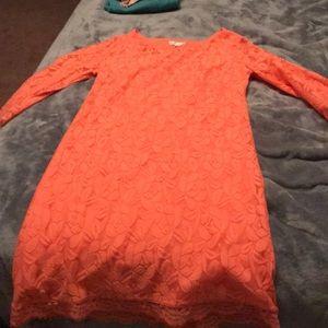 Peach colored dress!
